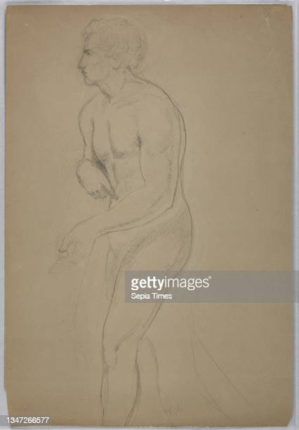 Study of a Male Nude for 'Tribute Money', Daniel Huntington, American, 1816–1906, Graphite and black crayon on tan paper, Study of a nude, male...