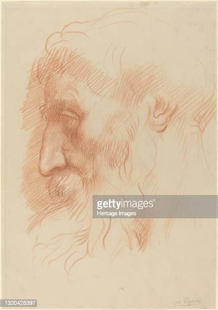 Study of a Man's Head [recto]. Artist Alphonse Legros.