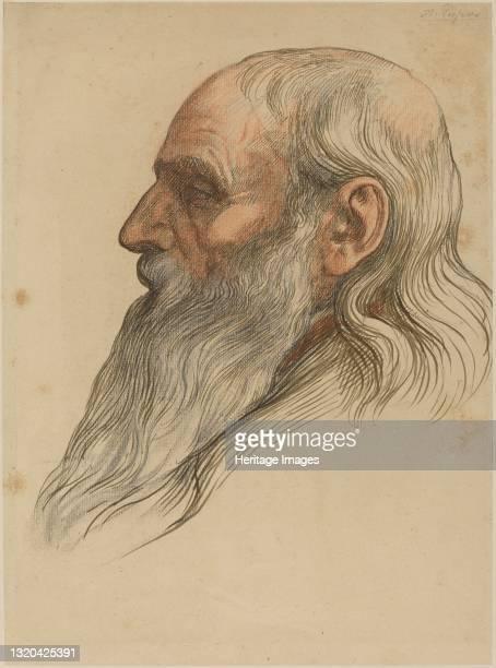 Study of a Man's Head with a Full Beard. Artist Alphonse Legros.