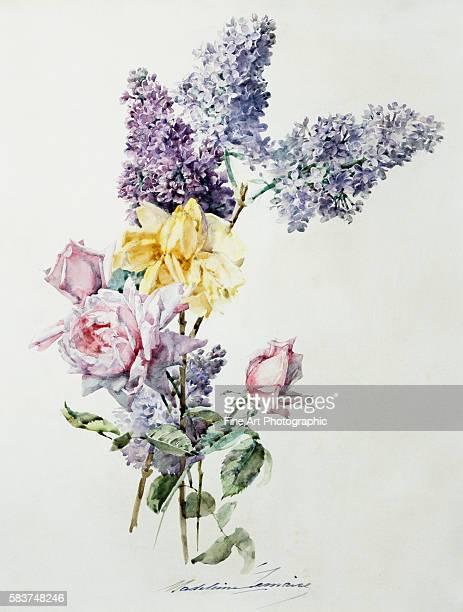 A Study of Lilac and Roses by Madeleine Lemaire