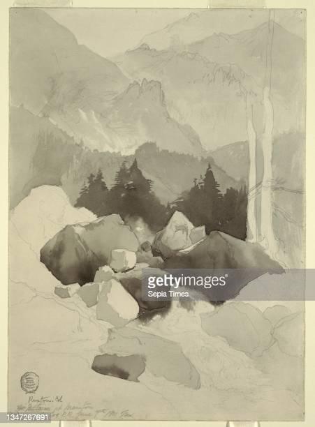 Study of Ruxton, Colorado, Thomas Moran, American, b. Britain, 1837–1926, Brush and gray wash, graphite on cream-colored wove paper, Vertical view of...