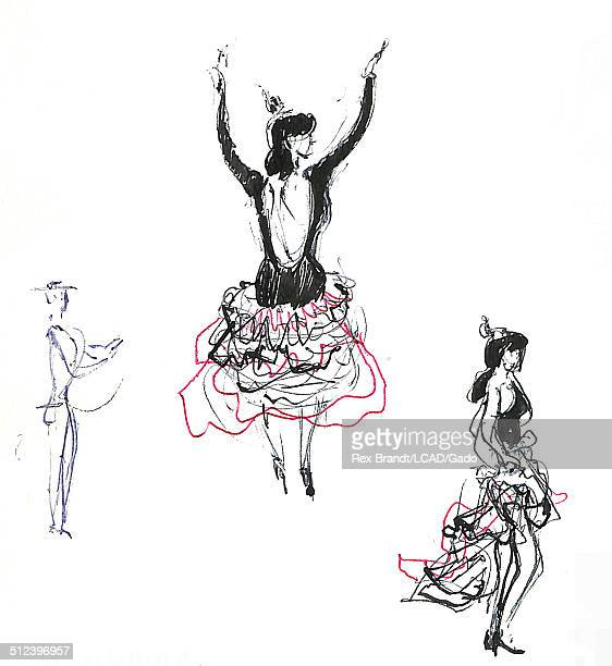 Study of several burlesque dancers Madrid Spain July 29 1965 Brandt was a cubist and member of the California Watercolor movement
