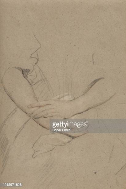 Study of the Forearms and Hands of a Woman. Circa 1665. Black chalk with touches of red. Heightened with white. On buff paper. 11 9/16 x 7 13/16 in....