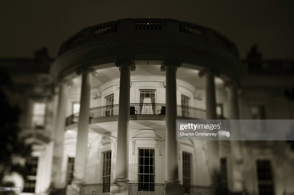 A study of the White House at night, April 4, 2004 in Washington DC.