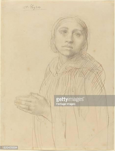 Study of Woman Praying. Artist Alphonse Legros.