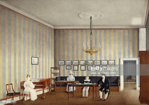 Study room of the children of Marie Louise of Parma watercolour on paper by Giuseppe Naudin