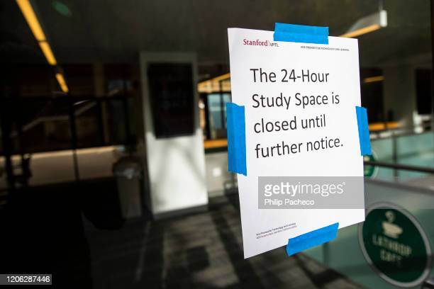 Study space remains closed due to Coronavirus fears at Stanford University on March 9, 2020 in Stanford, California. Stanford University announced...