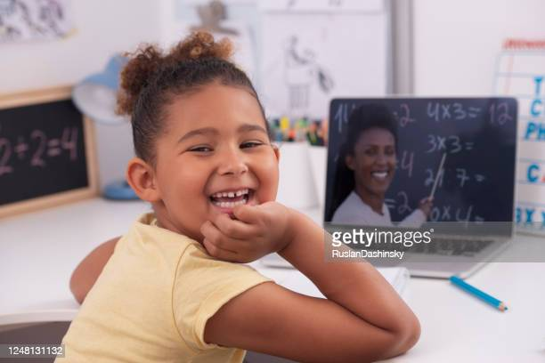 studying from home. - preschool child stock pictures, royalty-free photos & images