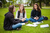 three friends study outside with flashcards