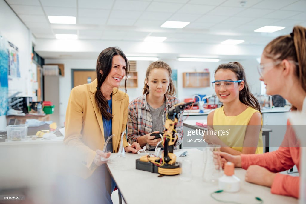Studying Robotic Arm : Stock Photo