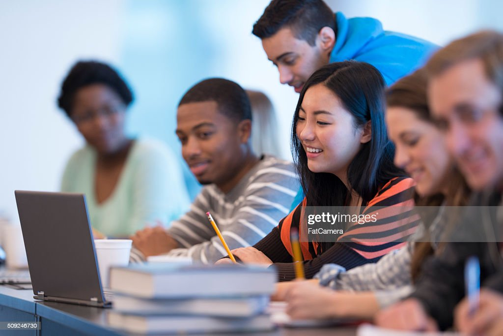 Studying Together in Class : Stock Photo
