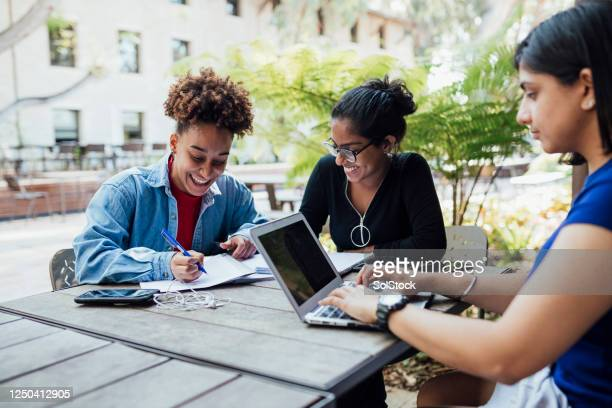 studying with friends - campus stock pictures, royalty-free photos & images