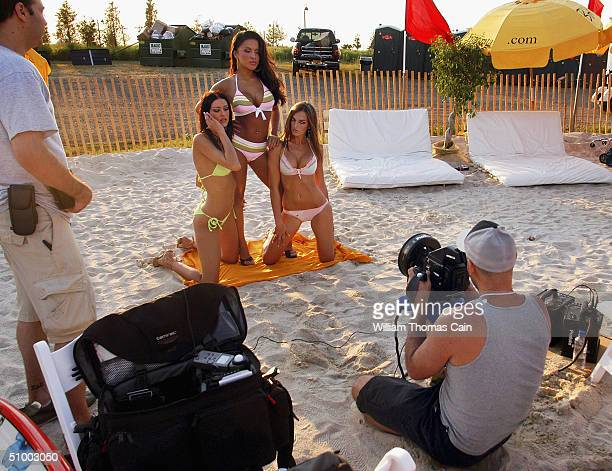 Stuff Magazine Model Search winners Christina Kraft Danielle Marcos Eva Kirchstein are photographed by Charlie Langella during the Maxim Magazine...