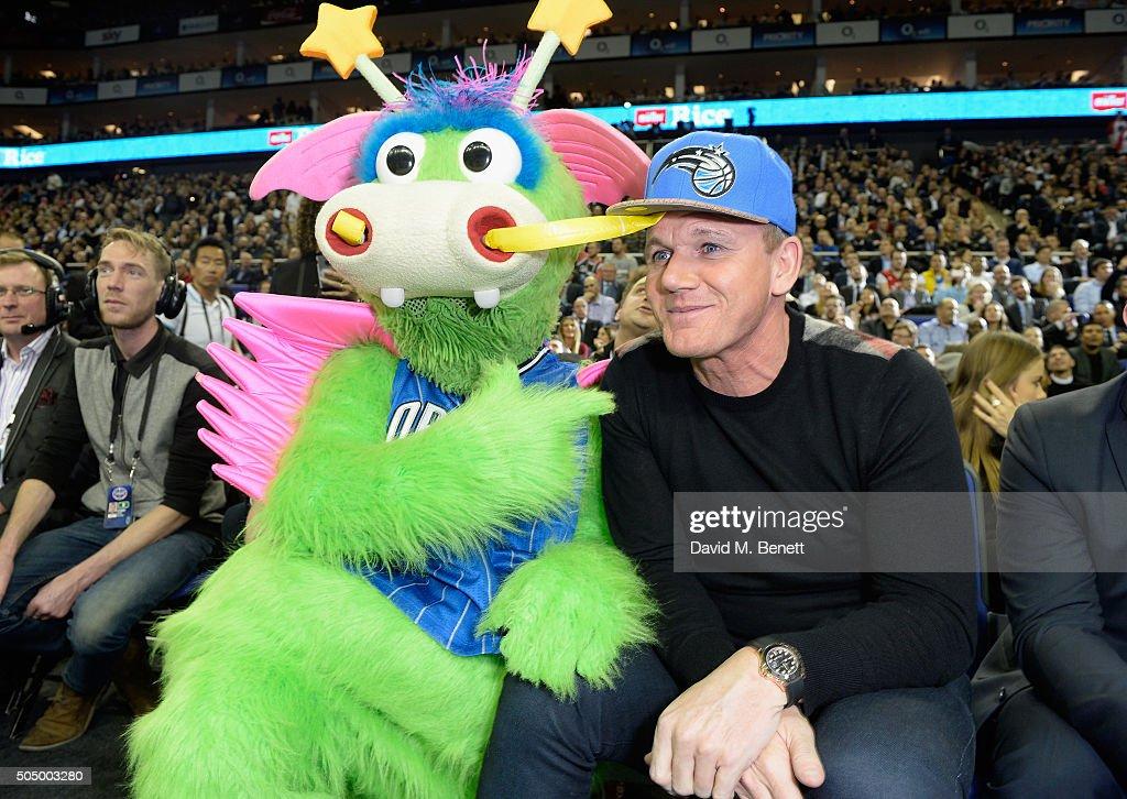 Stuff The Magic Dragon and Gordon Ramsay attend Orlando Magic vs Toronto Raptors NBA Global Game at The O2 Arena on January 14, 2016 in London, England.