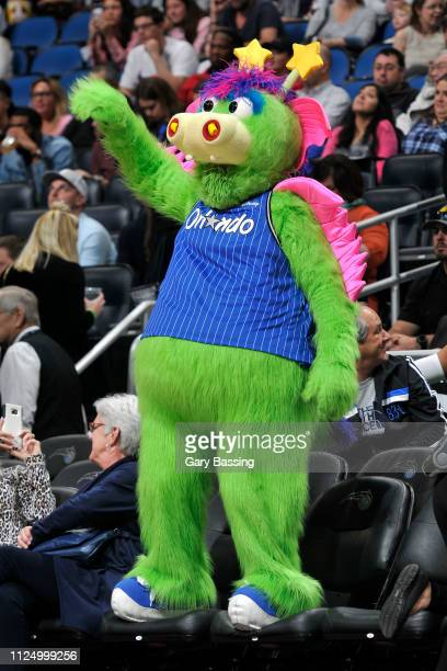 Stuff the Magic Dragon performs during the game between the Charlotte Hornets and the Orlando Magic on February 14 2019 at Amway Center in Orlando...