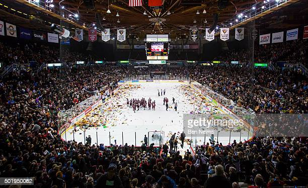 Stuffed animals are thrown onto the ice after Ty Ronning of the Vancouver Giants scored a goal against the Everett Silvertips during the first period...