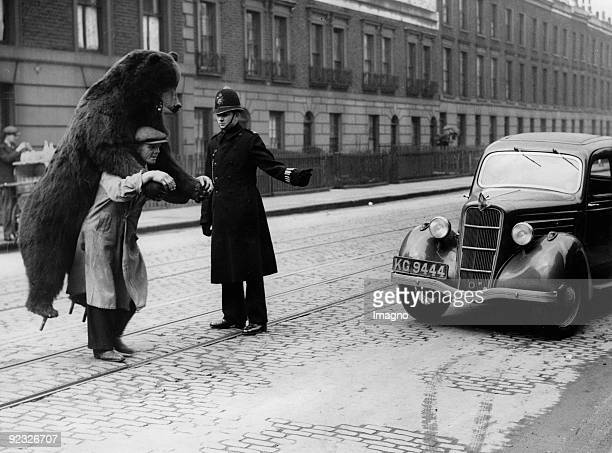 Stuffed baer in the streets of London. Photograph. 1937.