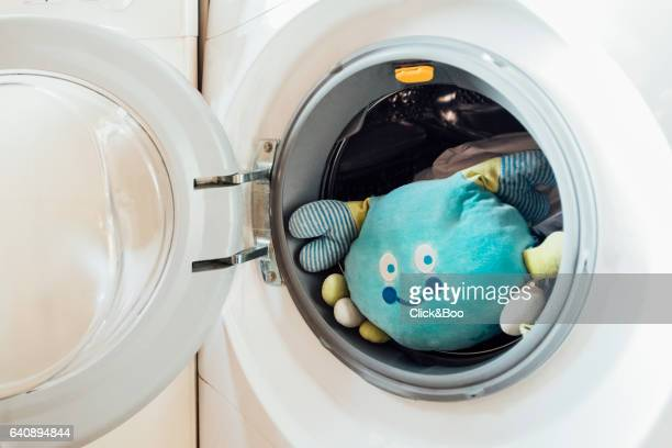 Stuffed crab inside a washing machine
