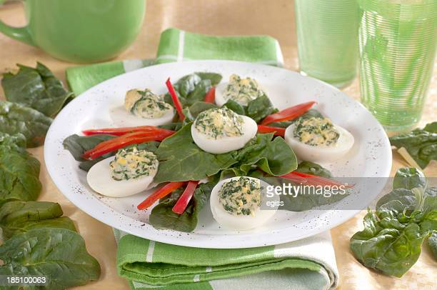 stuffed eggs - green eggs and ham stock photos and pictures