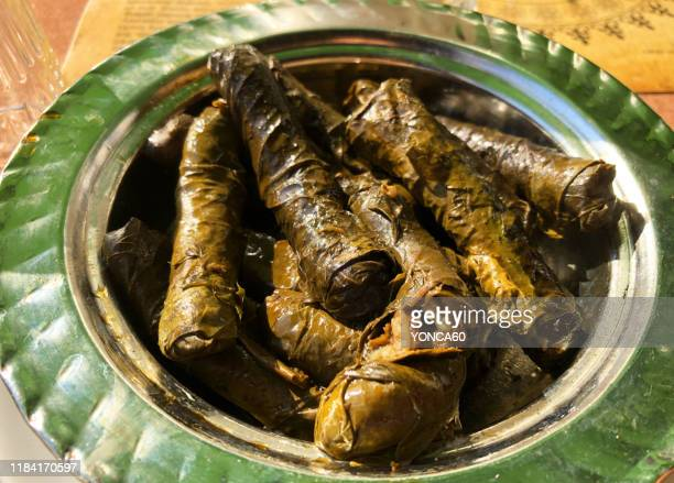 stuffed grape leaves (dolma) - dolmades stock pictures, royalty-free photos & images