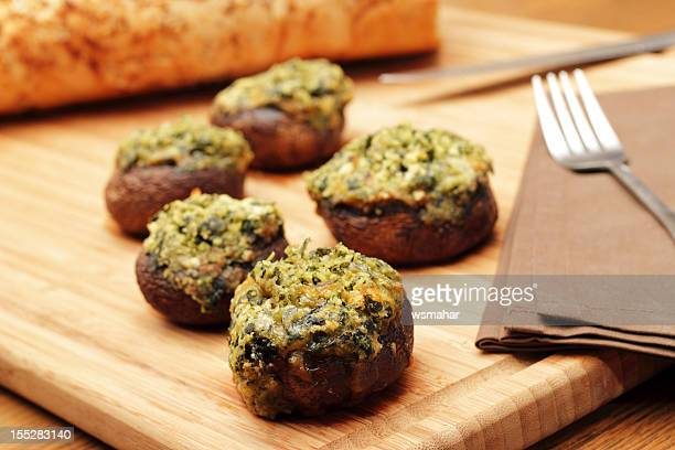 stuffed mushrooms - stuffing stock photos and pictures