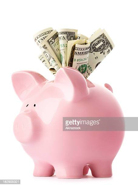stuffed piggy bank with us dollars - piggy bank stock photos and pictures