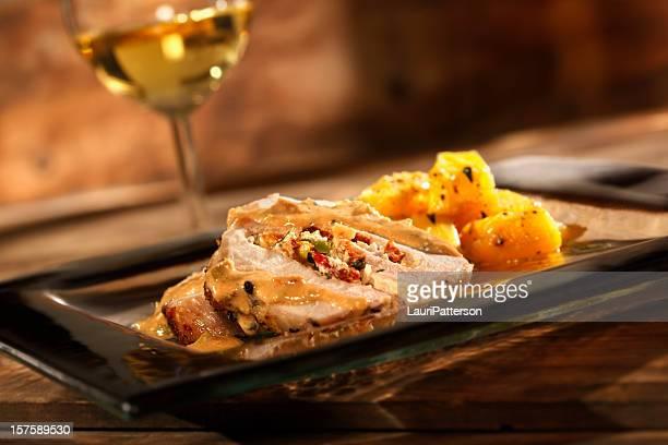 Stuffed Pork Roast with Roasted Squash