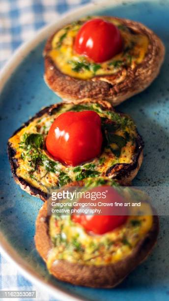 stuffed portobello mushrooms - gregoria gregoriou crowe fine art and creative photography. stock pictures, royalty-free photos & images