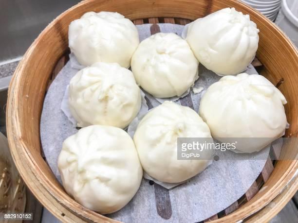 Stuffed served in bamboo steamer