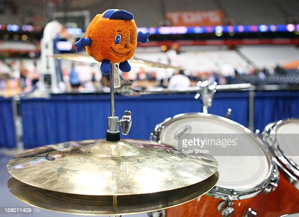 A stuffed Syracuse Orange mascot Otto sits on top of a drumset prior to the game against the Monmouth Hawks at the Carrier Dome on December 8 2012 in...