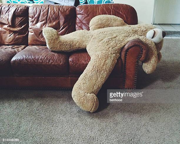 stuffed teddy bear laying on couch - teddy bear stock photos and pictures