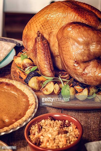 Stuffed Turkey and Pumpkin Pie