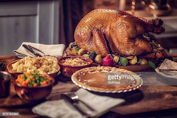 Stuffed Turkey and Pumpkin Pie
