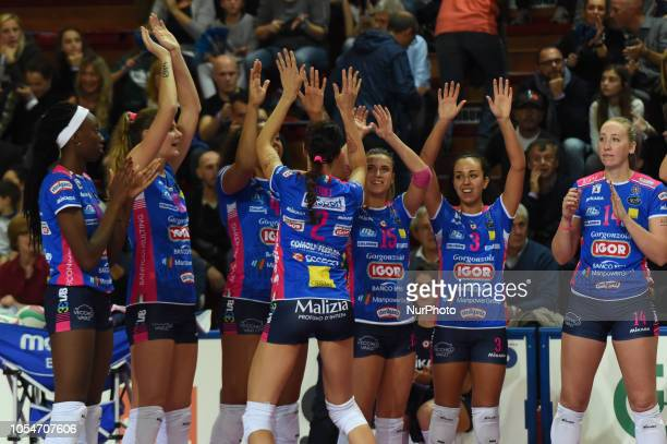 Stufi Federica from team Gorgonzola Igor Novara say hello to her team during volley match in Pala Igor Novara in Novara Italy