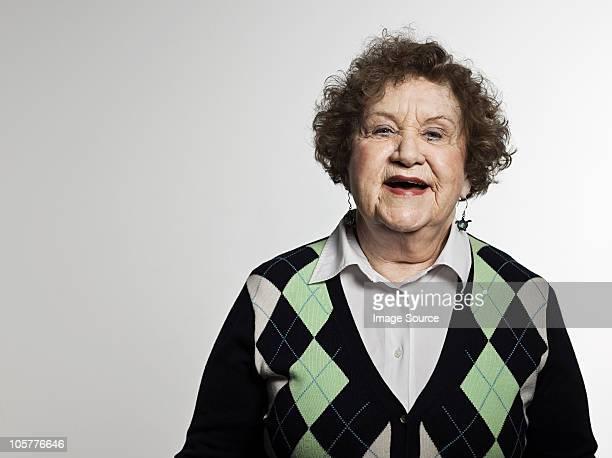 stuido 老人女性のポートレート朗らか - アーガイル模様 ストックフォトと画像