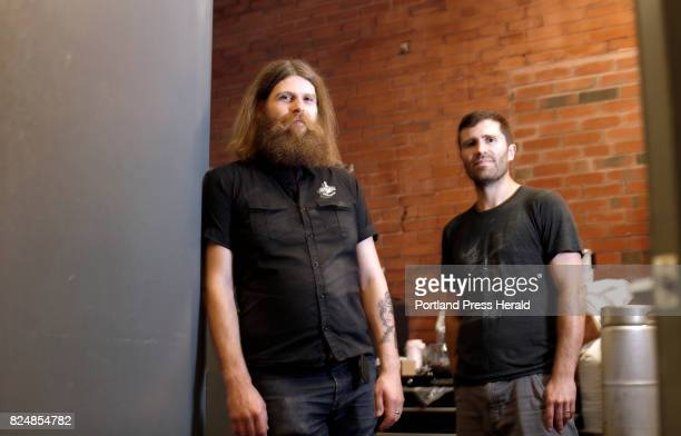 Stulli Bjornsson left and Greg Abbot pose for a portrait Thursday at Liquid Riot on Commercial Street Bjornsson is brew master at Borg Brugghus an...