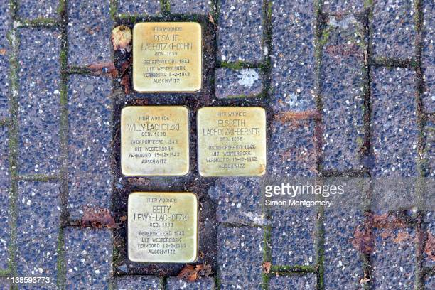 stumbling stones or stolpersteine are holocaust memorial brass plaques placed in front of the victims last home, kloveniersburgwal in amsterdam - {{asset.href}} stock pictures, royalty-free photos & images