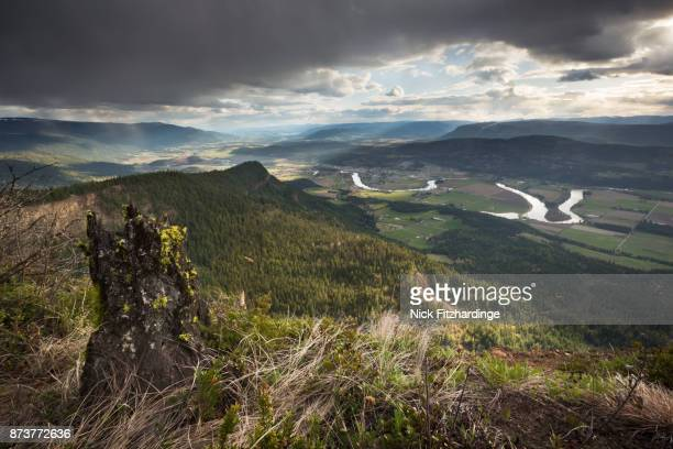 A stump at the summit of Enderby Cliffs overlooking the Shuswap River and the town of Enderby, British Columbia, Canada