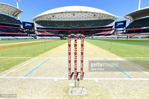 Stumps and pitch before the Women's Big Bash League match between the Adelaide Strikers and the Sydney Sixers at Adelaide Oval on February 2 2018 in...