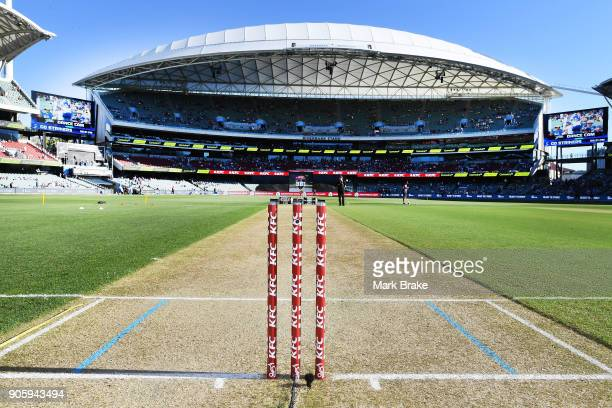 Stumps during the Big Bash League match between the Adelaide Strikers and the Hobart Hurricanes at Adelaide Oval on January 17 2018 in Adelaide...