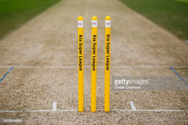 Stumps during the Kia Super League match between Surrey Stars and Southern Vipers on July 22 2018 in Guildford England