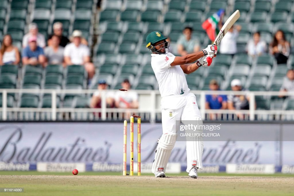 Stumps fly as South African batsman Vernon Philander is bowled by Indian bowler Mohammed Shami during the fourth day of the third Test match between South Africa and India at Wanderers cricket ground in Johannesburg on January 27, 2018. India beat South Africa by 63 runs on the fourth day of the third and final Test at the Wanderers Stadium on January 27. /