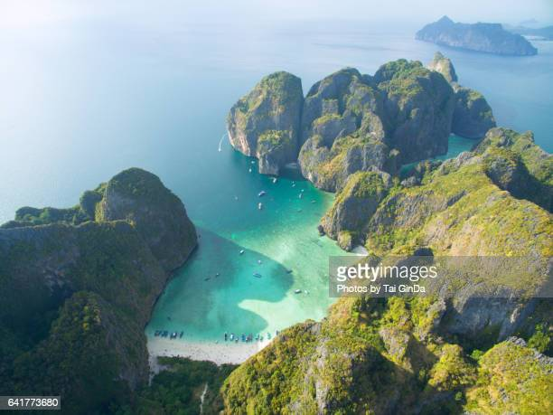 stunning aerial shot of phi phi islands in thailand - phuket province stock pictures, royalty-free photos & images