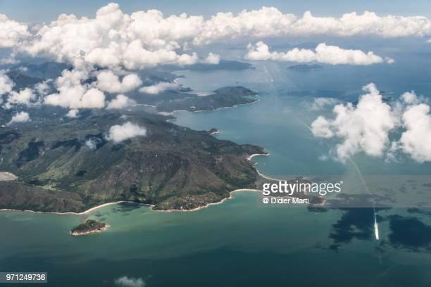 stunning aerial view of lantau island in hong kong - 南シナ海 ストックフォトと画像