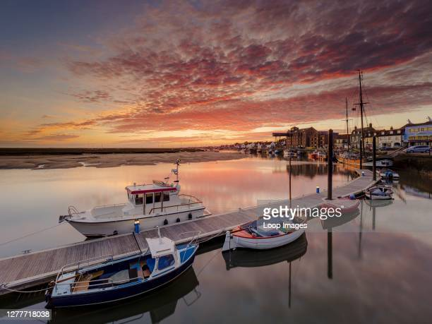 Stunning autumn sunrise over the harbour at Wells-next-the-Sea.