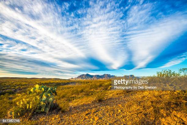 stunning cloud formation over the chisos mountains - chisos mountains stock pictures, royalty-free photos & images