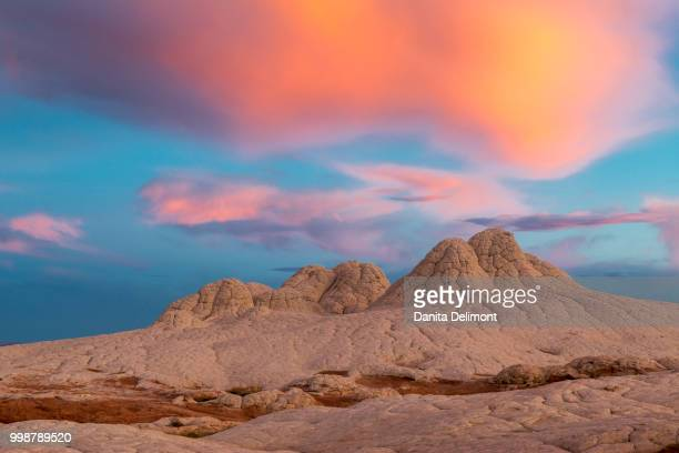 stunning clouds at sunrise, vermillion cliffs, white pocket wilderness, arizona, usa - vermilion cliffs stock pictures, royalty-free photos & images