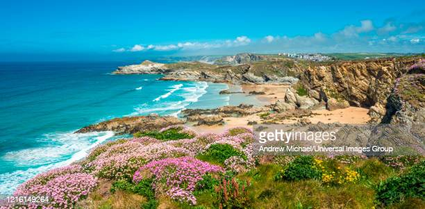 stunning coastal scenery with newquay beach in north cornwall, england, uk. - newquay stock pictures, royalty-free photos & images