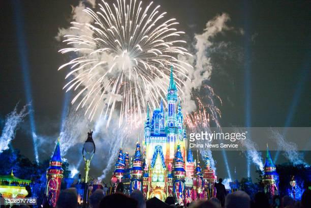 Stunning firework show is held at the Magic Kingdom Park in Walt Disney World Resort on July 1, 2021 in Lake Buena Vista, Florida. The firework show...