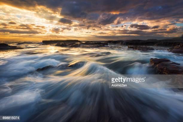 Stunning flow of Kiama surf beach, South of Sydney, Australia